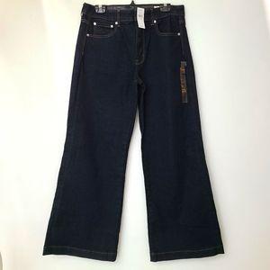 NWT AEO Wide Leg Hi Rise Dark Blue Jeans 14 Short